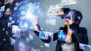 Woman with Virtual Reality / Augmented Reality Glasses